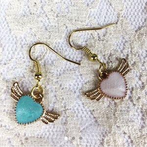 Jewelry - 3/$15 Gold Tone Flying Heart Earrings